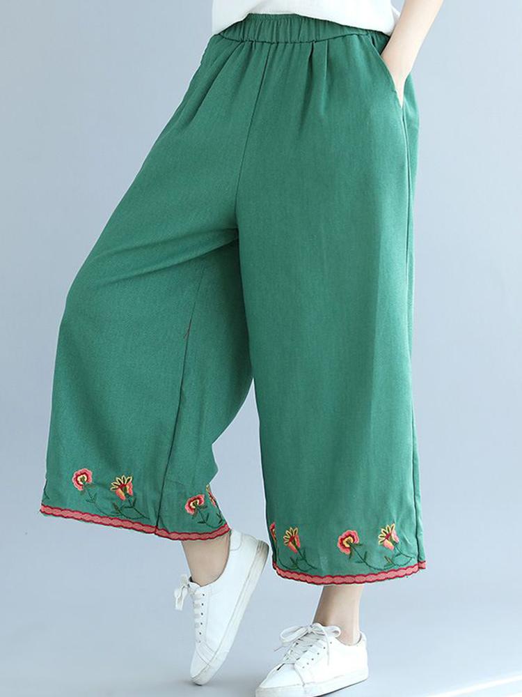 Women Vintage Floral Embroidery Elastic Waist Wide Leg Pants