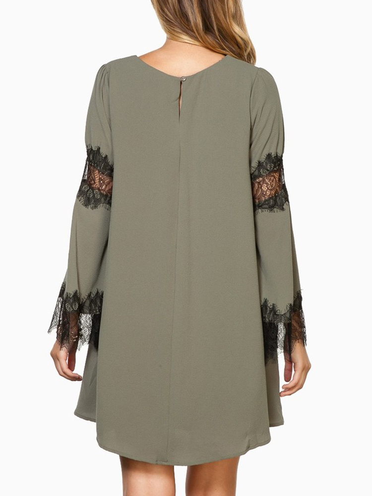 Casual Dark Green Lace Patchwork Women Loose Mini Dress