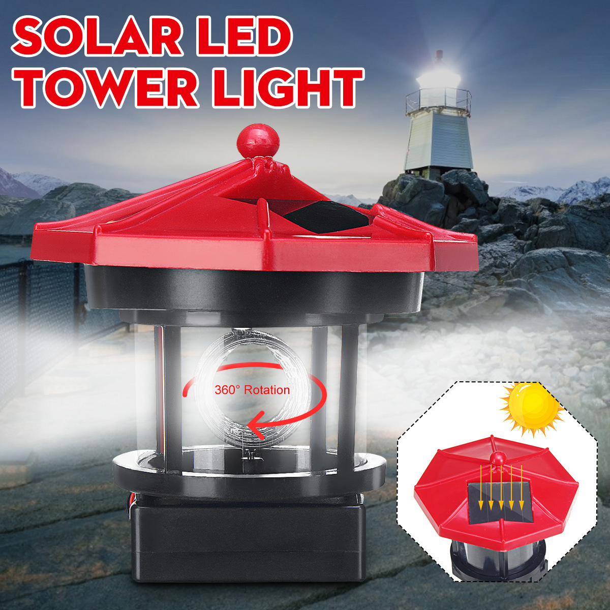LED Solar Powered Lighthouse Statue Rotating Garden Yard Outdoor Light Decor