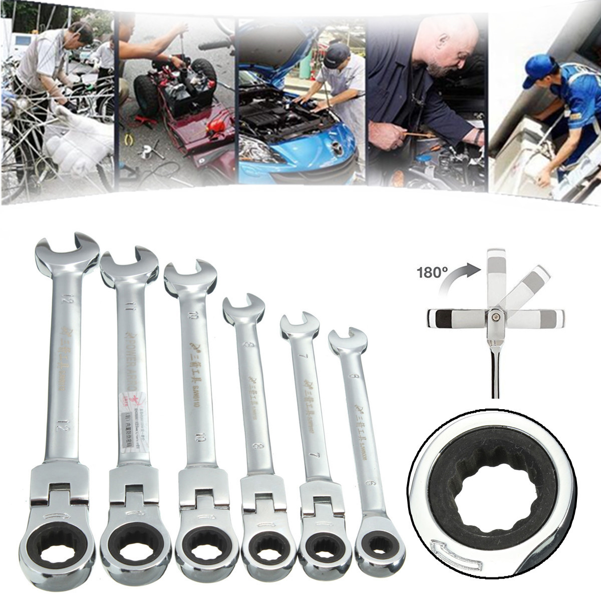 [EU Warehouse] Flexible Pivoting Head Ratchet Combination Spanner Wrench Garage Metric Tool