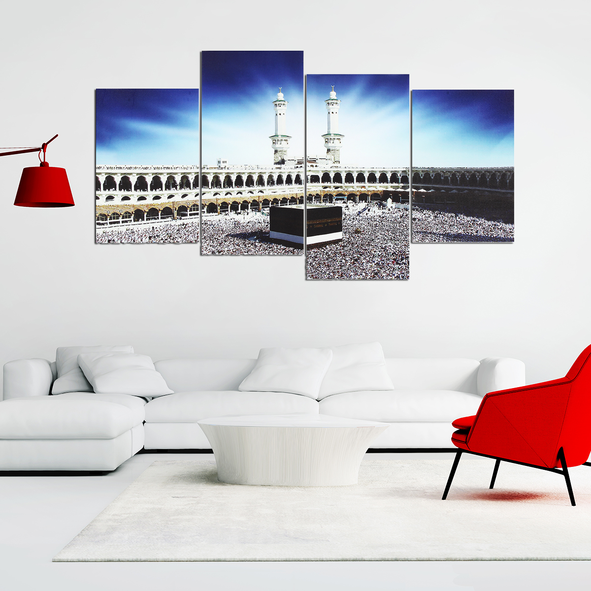 4 PCS Wall Art Print Mecca Islamic Kaaba Hajj Canvas Paintings Decor
