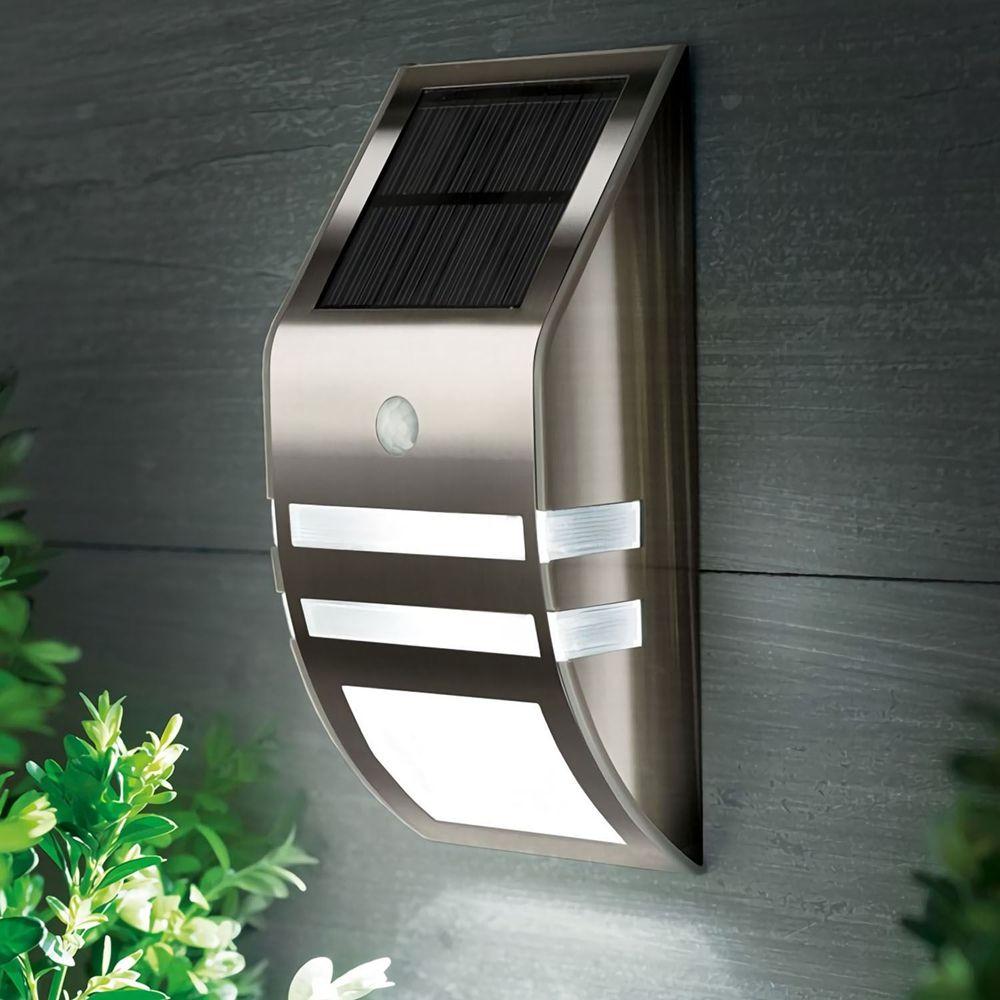 Stainless Steel Waterproof PIR Motion Sensor LED Solar Light Garden Yard Outdoor Wall Lamp Pathway