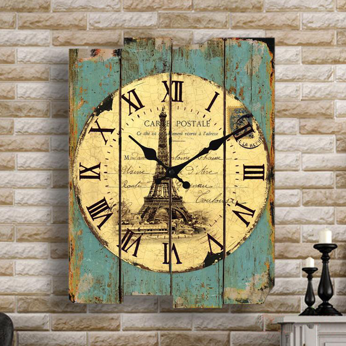 Green / Gray / Red Retro Vintage Wooden Wall Clock Home Coffee Shop Decorations