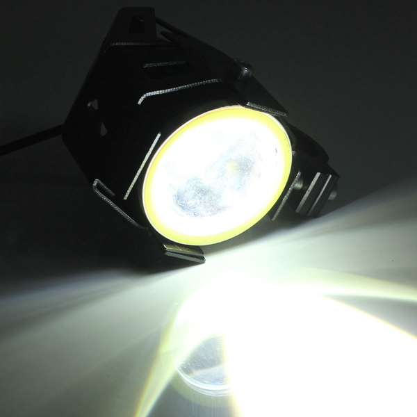 2PCS U7 Waterproof Motorcycle LED Fog Light Spot Headlight Angel Eyes Lamp Black Body White Light