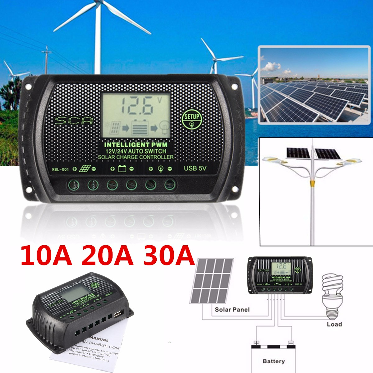 10a 20a 30a Pwm Lcd Usb Solar Panel Battery Regulator Charge Details About Controller 12v 24v 30amp Pictures