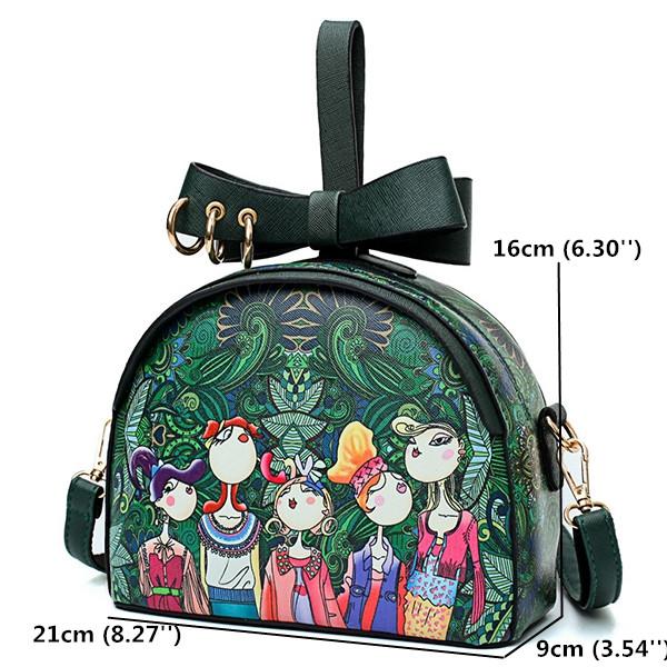 Women PU Fashion Spring Forest Print Crossbody Bag
