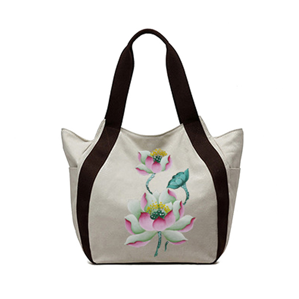 Brenice Women National Hand Painted Floral Tote Handbag Vintage Shoulder Bag