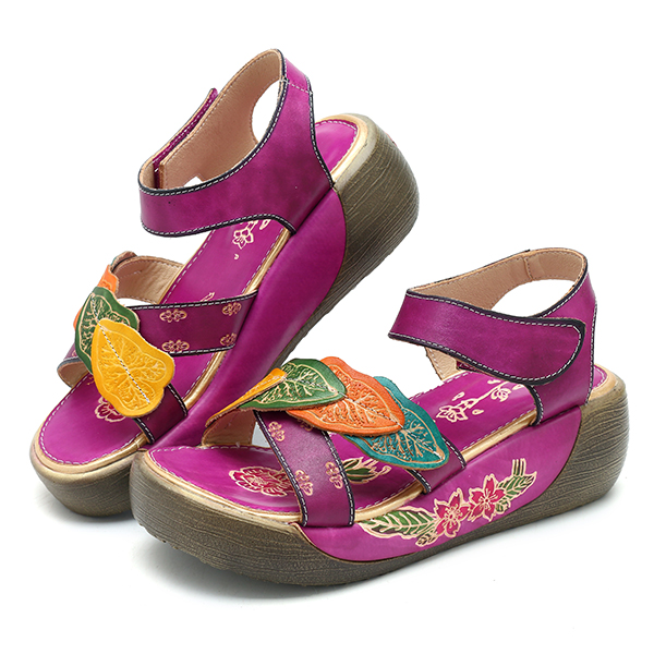 SOCOFY Hook Loop Leather Flower Retro Sandals