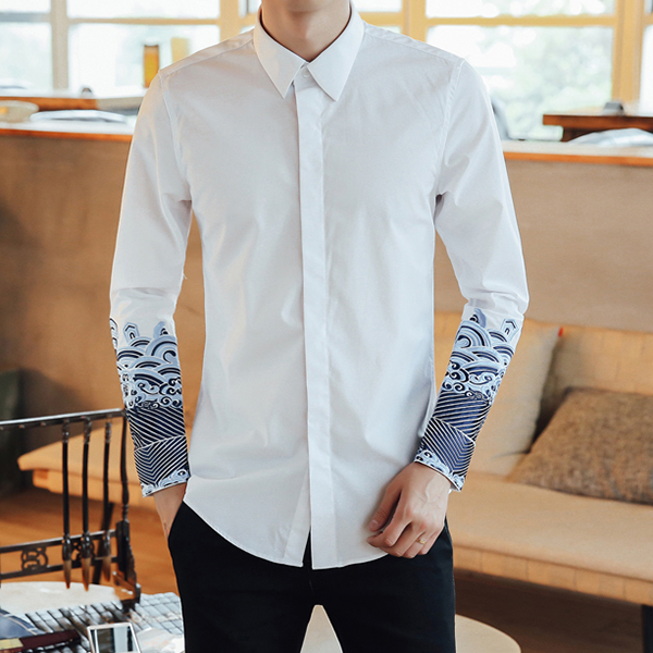Chinese Style Embroidery Sleeve Button up Designer Shirt