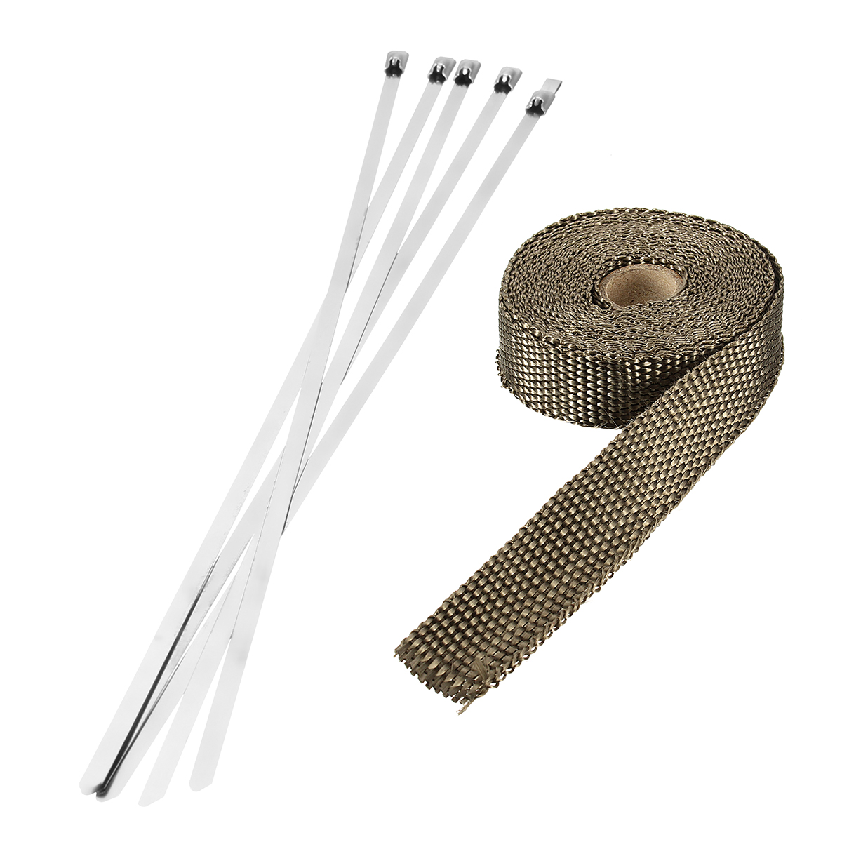 4.5m x 25mm Titanium Header Exhaust Heat Wrap Tape Protection with Stainless Steel Zip Ties
