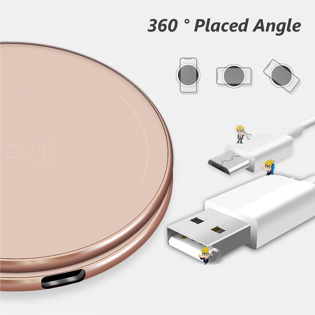 Bakeey 10W Metal Scrub QI wireless Fast Charging Charger Pad For iPhoneX 8/8Plus Samsung S8 iwatch 3