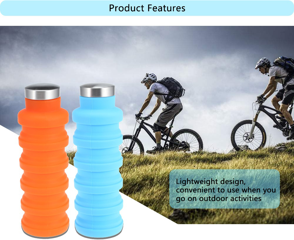 Portable Silicone Water Bottle Retractable Folding Coffee Bottle Outdoor Travel Drinking Collapsible Sport Drink Kettle