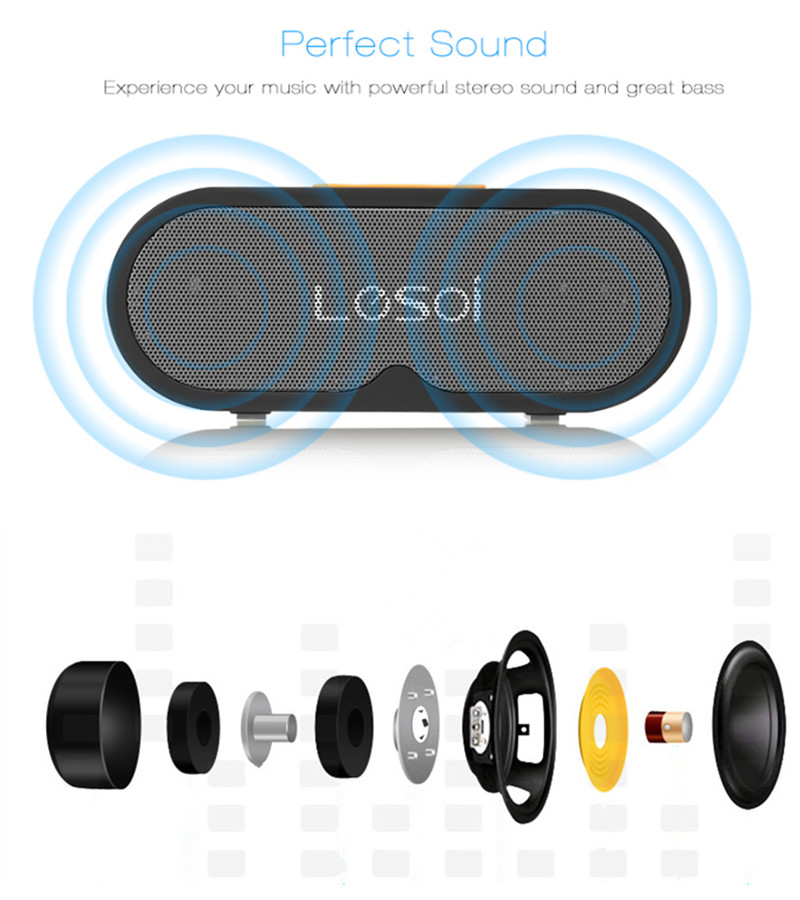 LESOI F1 Outdoor Portable Heavy Bass FM Radio bluetooth 4.2 Speaker with MIC for iPhone Sansumg