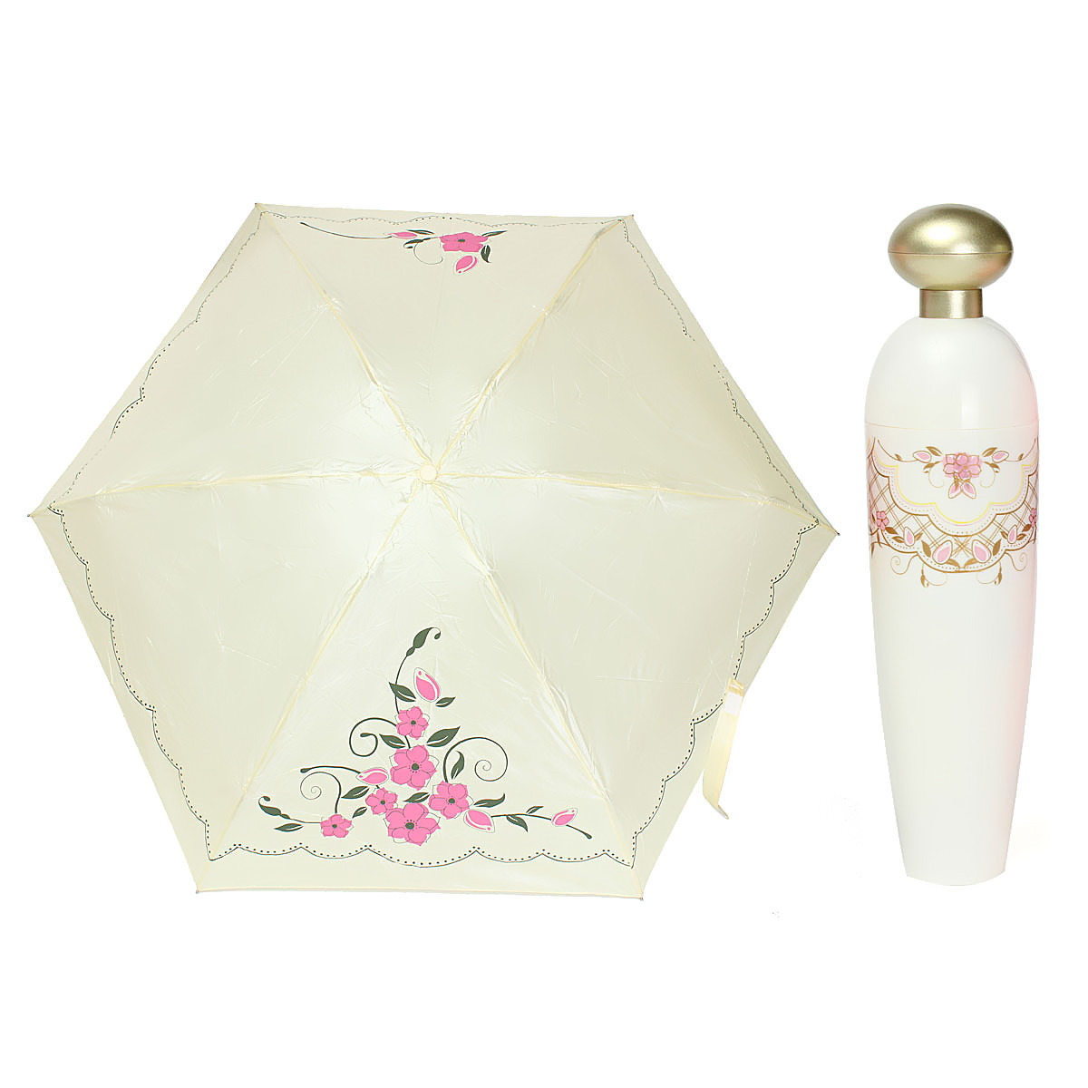 Fashion Women Princess Queen Lady Portable Folding Perfume Bottles Folwer Vase Style Sunshade Umbrella Parasol