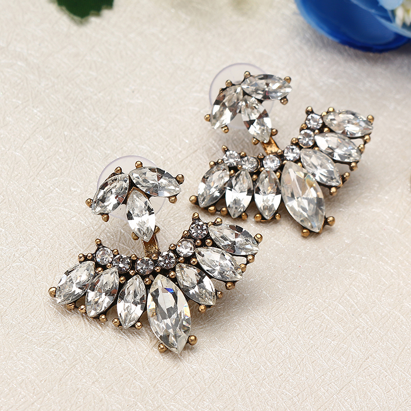 Trendy Women's Rhinestones Double Side Flower Leaf Earrings