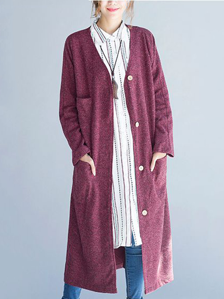 Plus Size Vintage Buttons Loose Long Trench Coat