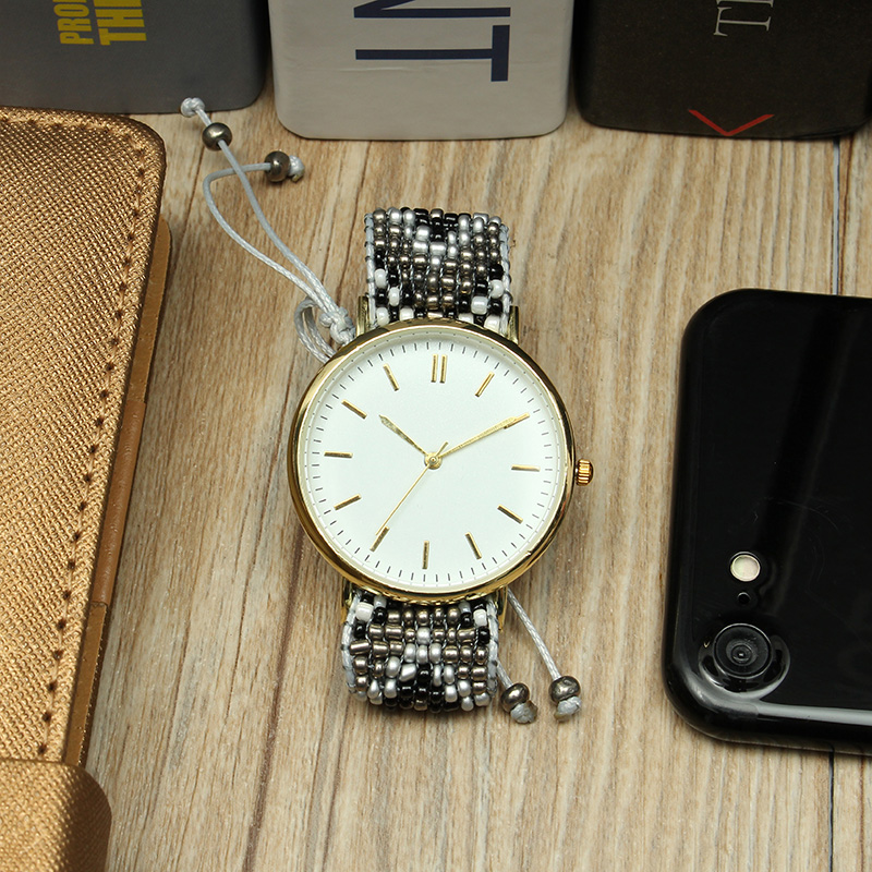 Custom Folk Women Watch Alloy Case Knitted fabric Strap Casual Retro Quartz Wrist Watch