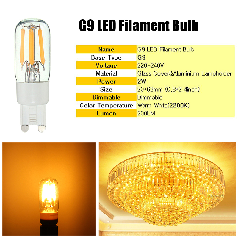 Mini G9 2W Dimmable Retro LED Filament Bulb Refrigerator Chandelier Light Replacement