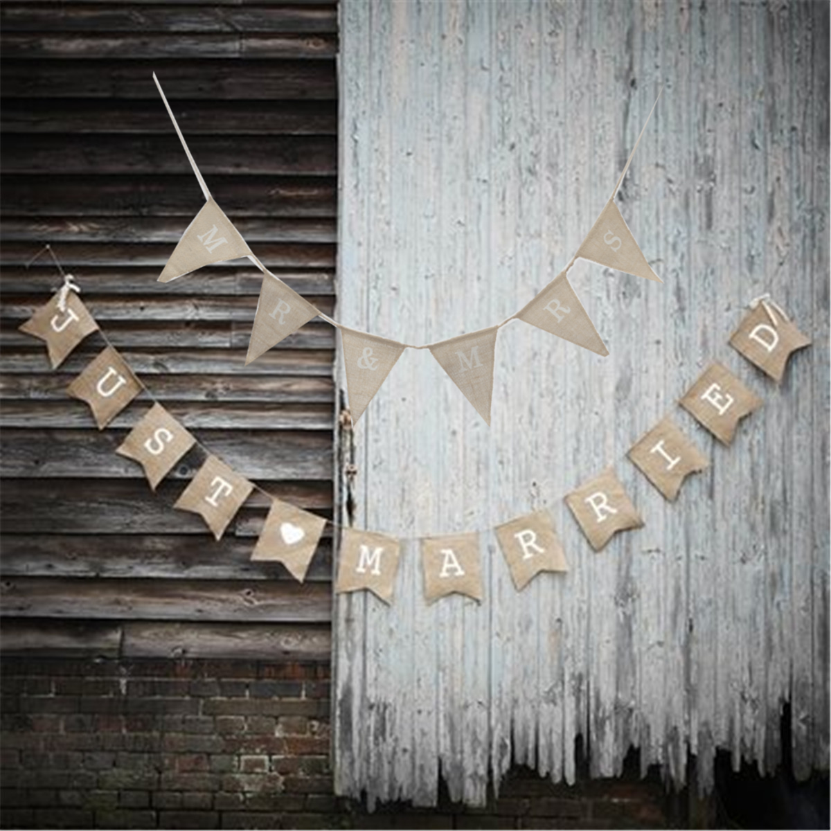 JUST MARRIED MR& MRS Hessian Burlap Fabric Rustic Wedding Banner Bunting Vintage Decoration
