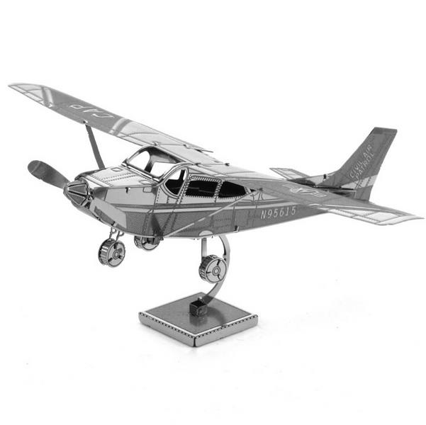 Aipin DIY 3D Puzzle Stainless Steel Model Kit Cessna Skyhawk Silver Color