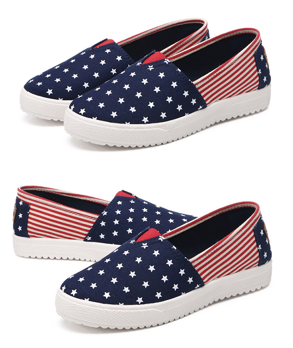 Women Canvas Low Top Flat Casual Comfortable Slip On Round Toe Flat Loafers Shoes
