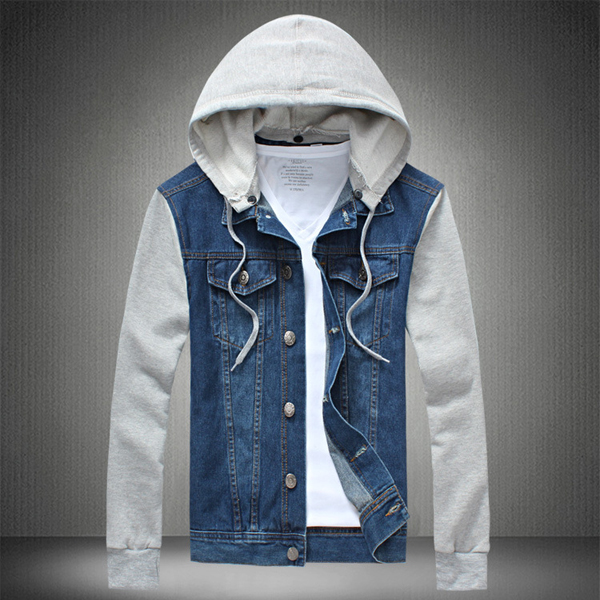 Plus Size Mens Denim Jean Cotton Blend Patchwork Hooded Detachable Jacket
