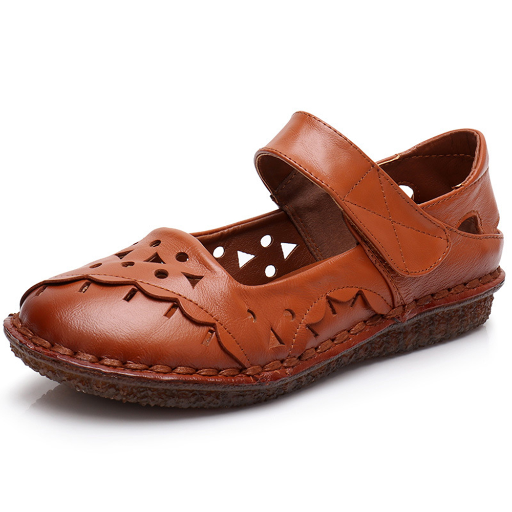SOCOFY Genuine Leather Breathable Hook Loop Sandals