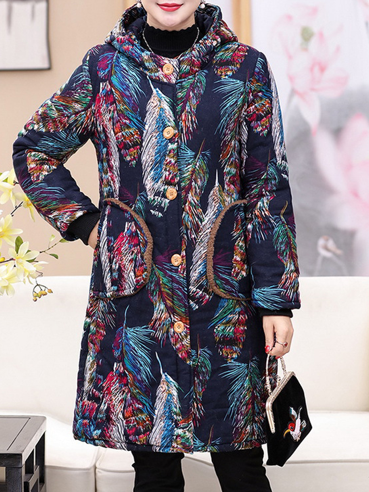 Women Floral Print Buttons Long Sleeve Hooded Coats
