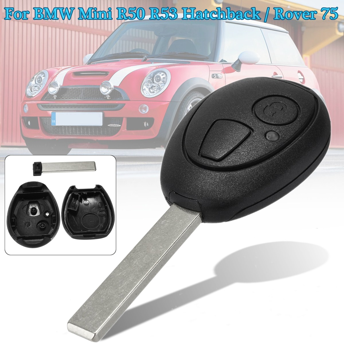 2 Buttons Remote Key Case Fob Shell for BMW Mini ONE Cooper R50 R53 01-080