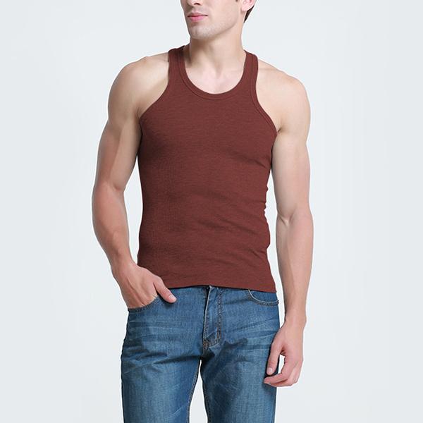 de96b517caf42f Mens Cotton Crewneck Sports Fitness Vest Casual Solid Color Slim Tank Tops