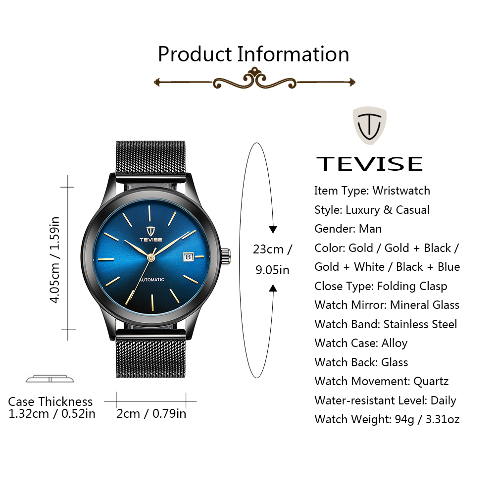 TEVISE 9017 Date Display Automatic Mechanical Watch