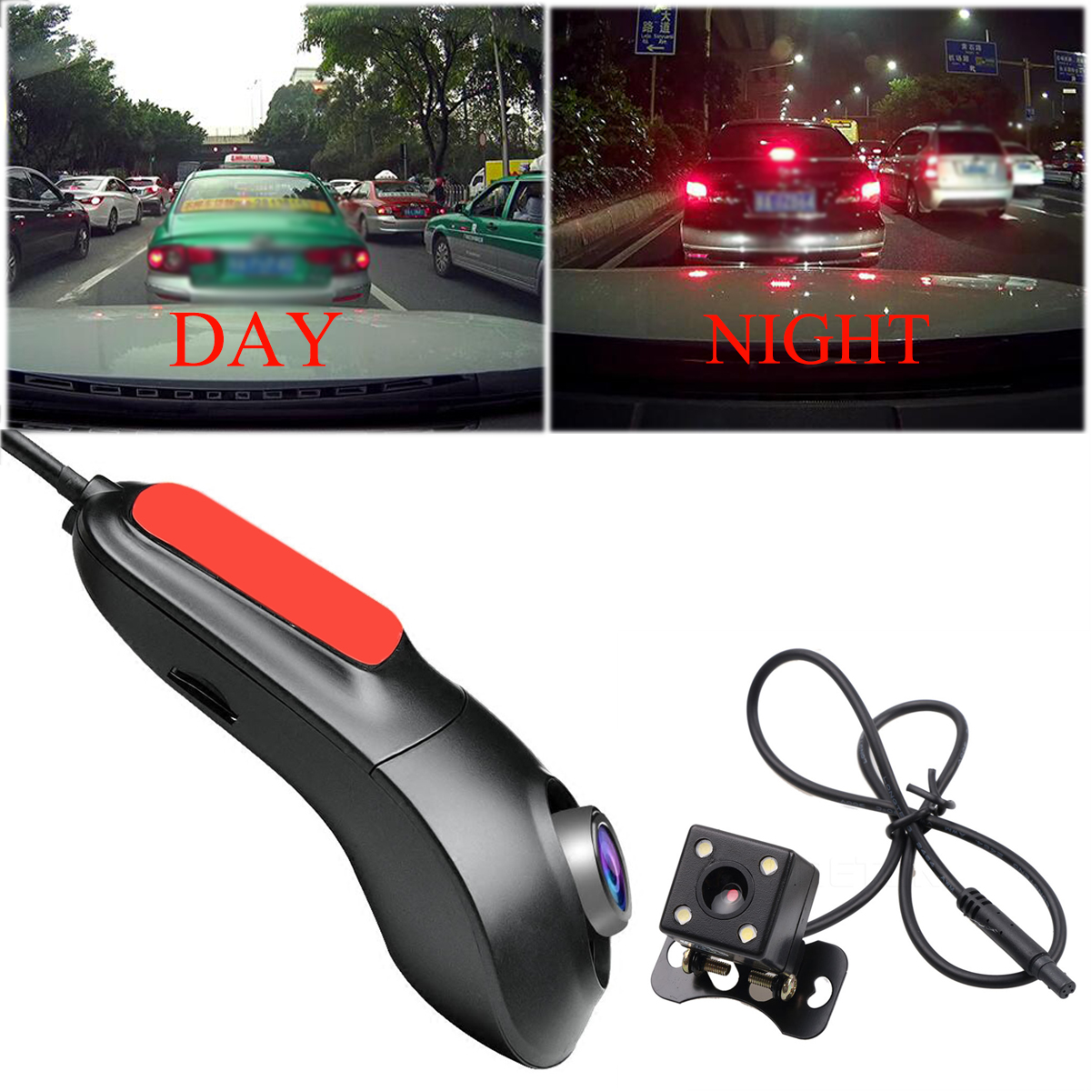 Dual Lens 1080P Hidden Car DVR Video Camera Driving Recorder Wifi Night Vision