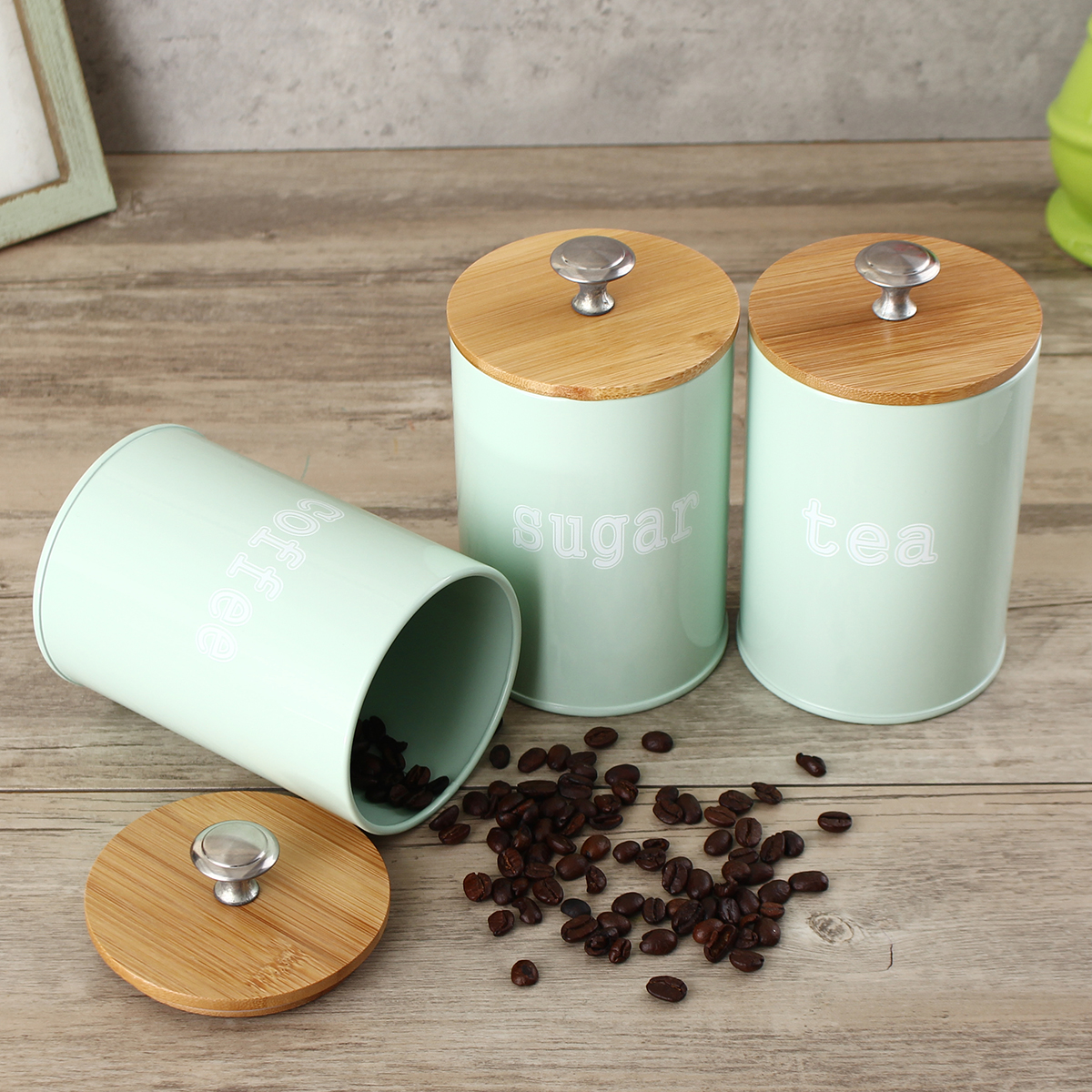 3Pcs Tea Sugar Coffee Canisters Storage Jars Kitchen Spice Container Empty Jar