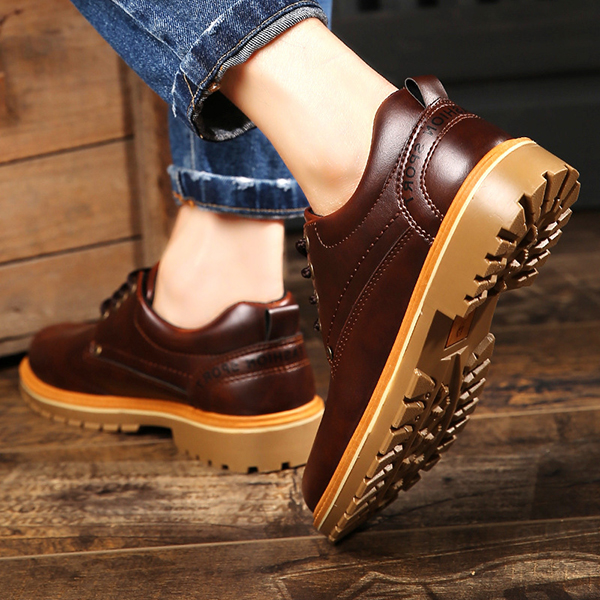 Men Casual Business Soft Leather Lace Up Low Top Oxfords Shoes