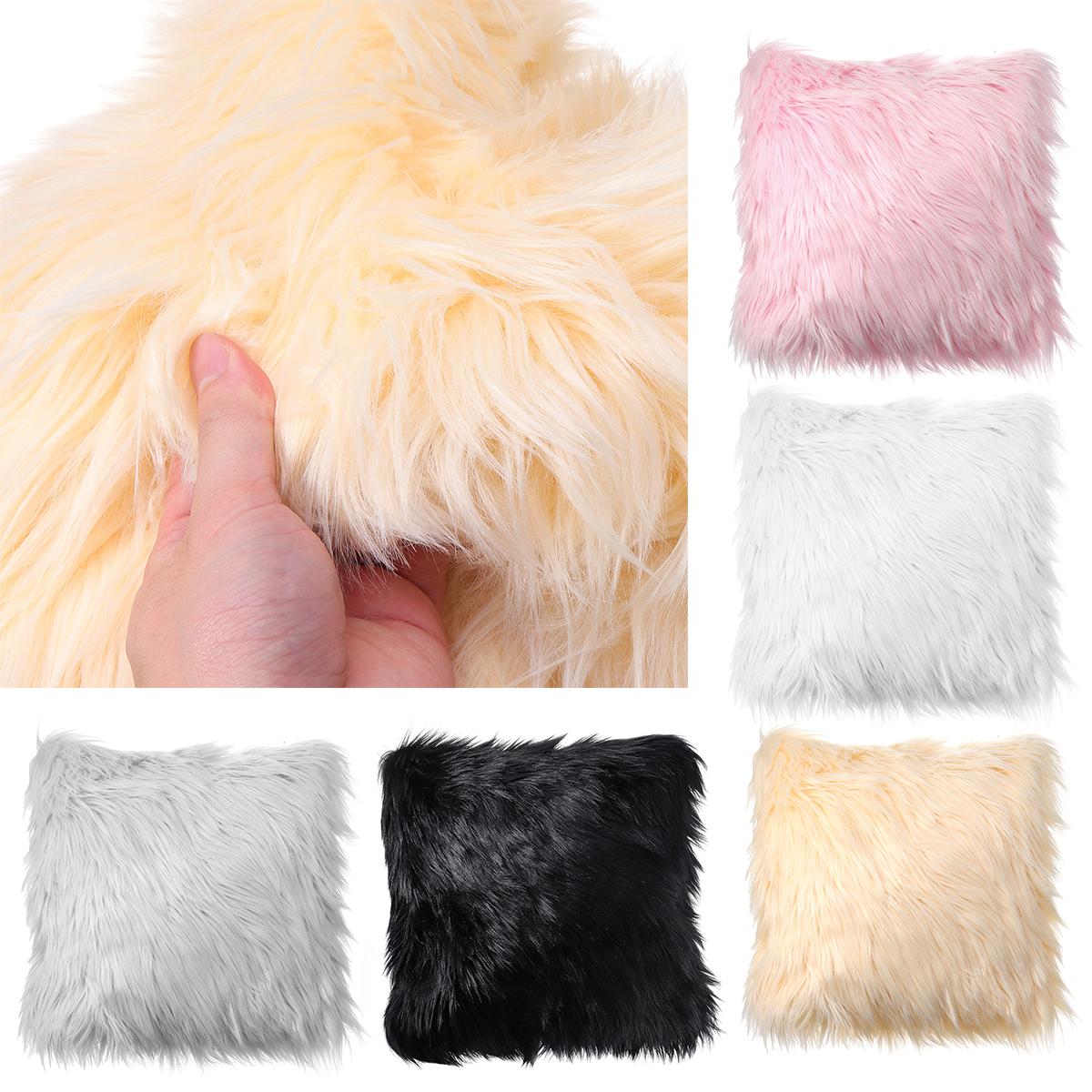 40x40 Faux Wool Fur Cushion Cover Fluffy Soft Plush Throw Pillow Case Home Decor