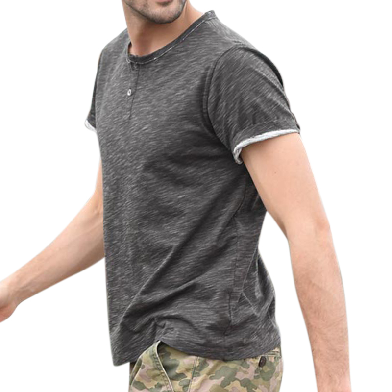 Men's Buttons Decoration O-Neck Solid Color Casual T-shirts