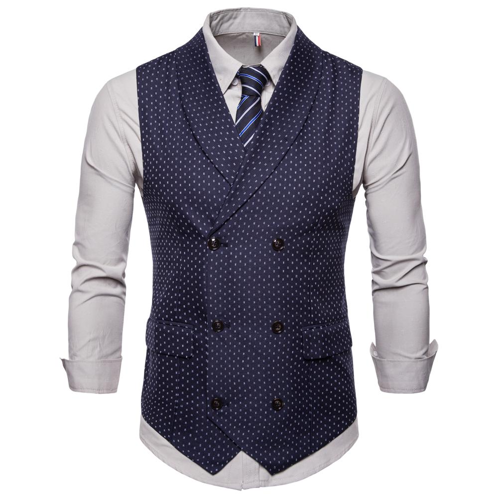 Image of Fashion Business Dots Druck Weste Anzug Weste für Männer