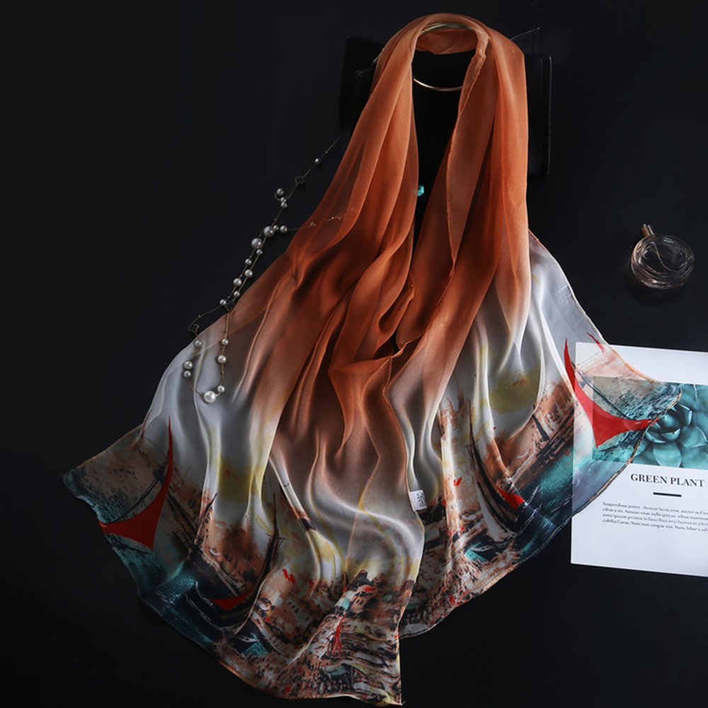 Women Summer Fashion Silk Scarf Ultra Printting Shawl