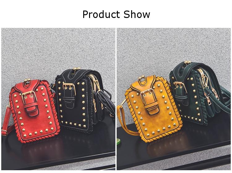Mini Rivet Vertical PU Leather Storage Shoulder Bag Double Zipper Wallet for iPhone Xiaomi Samsung