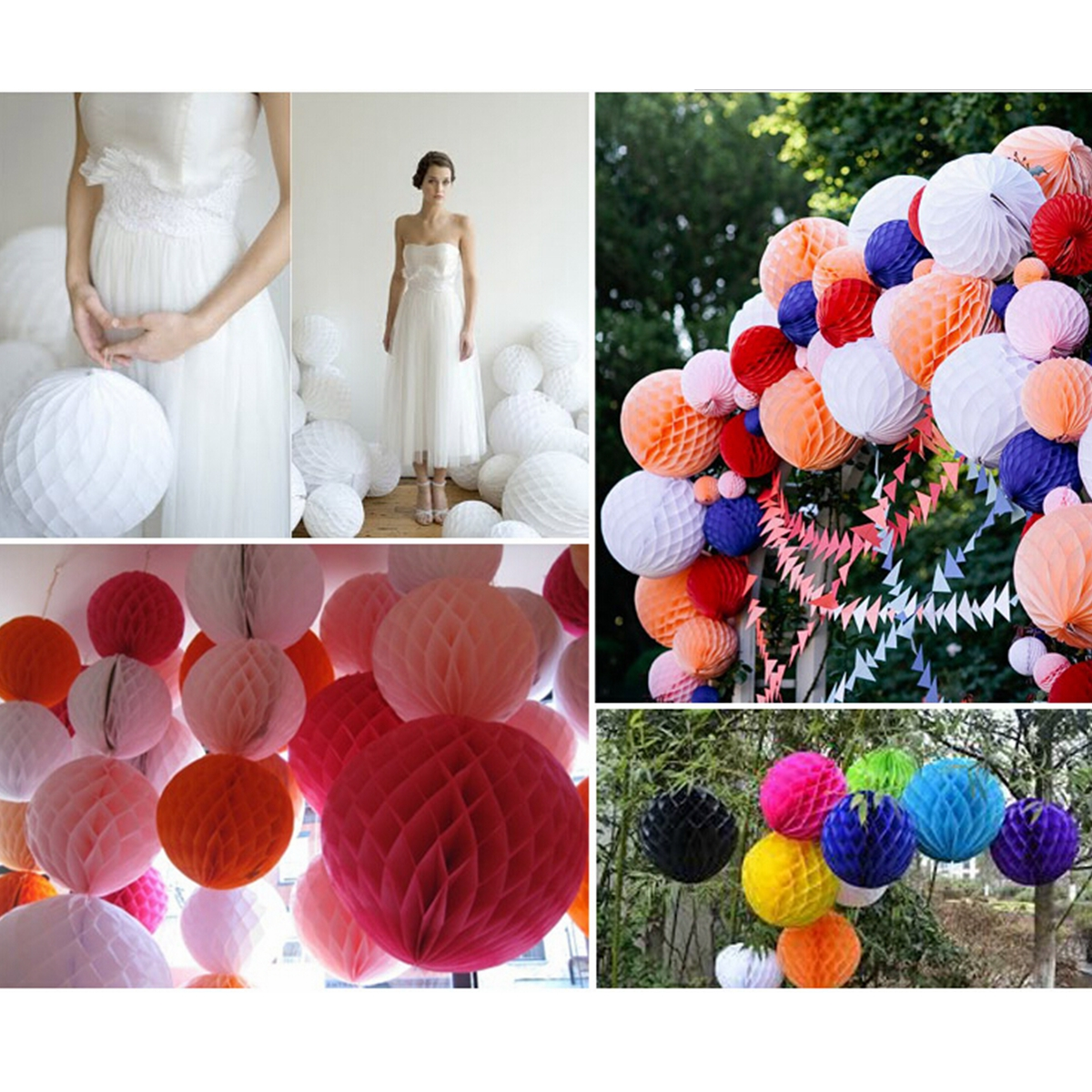 25CM 10'' Tissue Paper Pom Poms Honeycomb Ball Lantern Wedding Party Home Table Decor