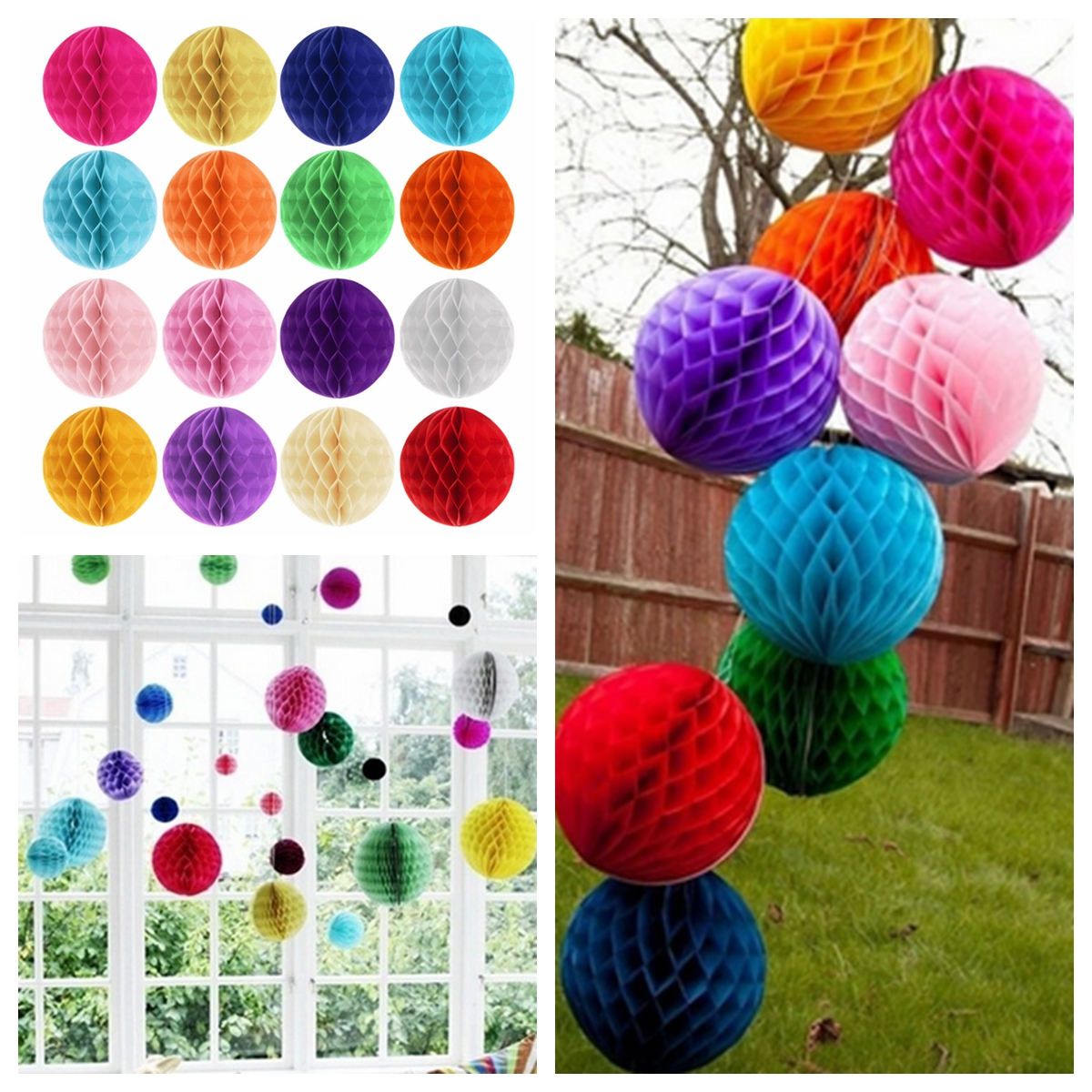 10CM 4'' Tissue Paper Pom Poms Honeycomb Ball Lantern Wedding Party Home Table Decor