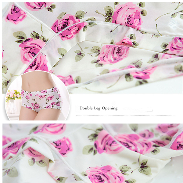 Woman Comfy Ice Silk Floral Printing Mid Waist Seamless Breathable Panties Briefs