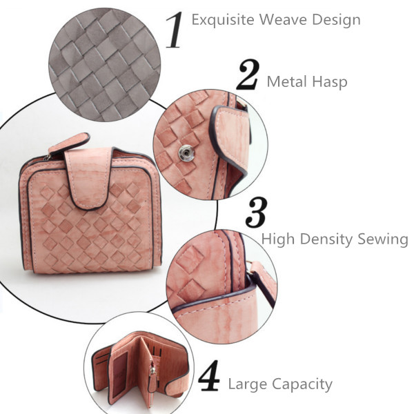 Women Weaven Short Wallets Girls Hasp 3 Folded Purse Card Holder Coin Bags