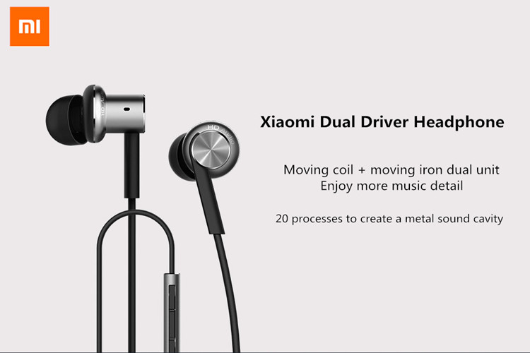 Original Xiaomi Hybrid Dual Drivers Wired Control Earphone Headphone With Mic