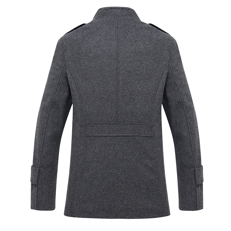 Mens Fashion Casual Stand Collar Woolen Jacket Business Tren