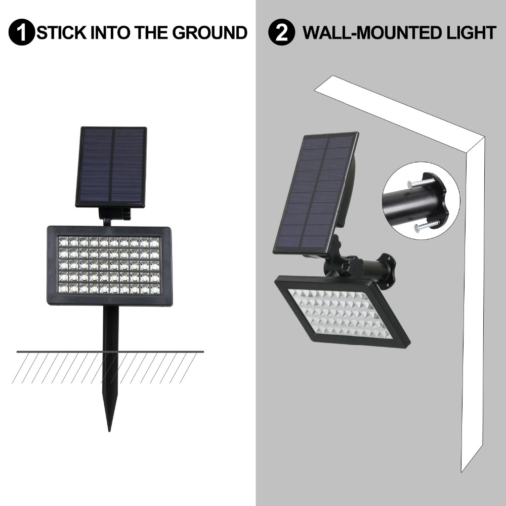 2W Solar Powered 50 LED Landscape Spot Light Outdoor Garden IP44 Waterproof Lawn Lamp