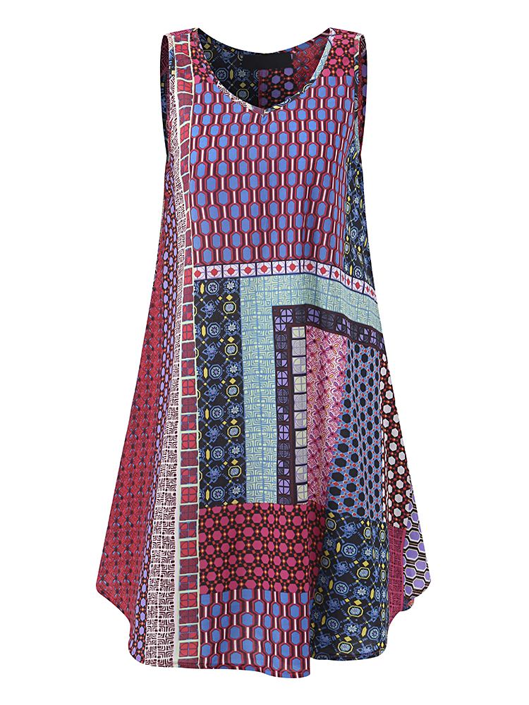 Gracila Women Printed Patchwork Sleeveless Loose Dresses