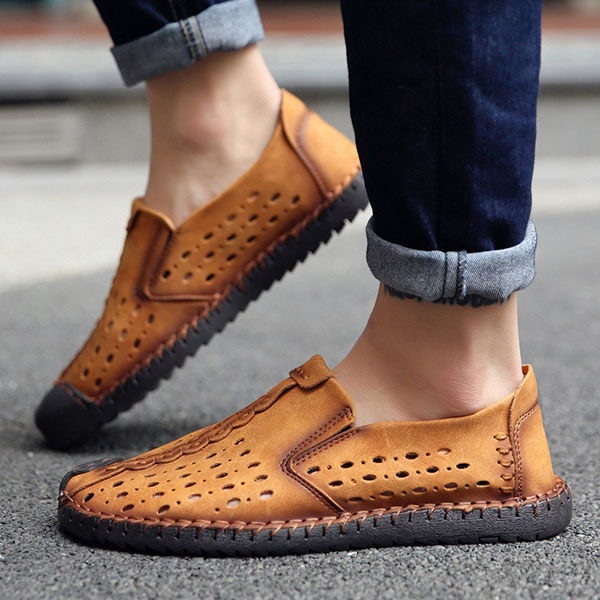 Men Hand Stitching Hollow Out Slip On Casual Flats