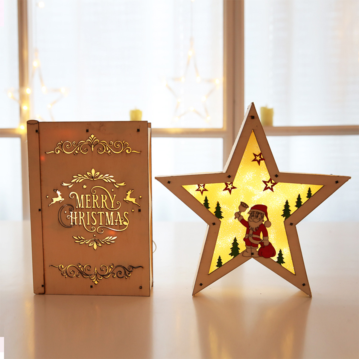 LED Light Christmas Decorations Houten bureau-ornamenten