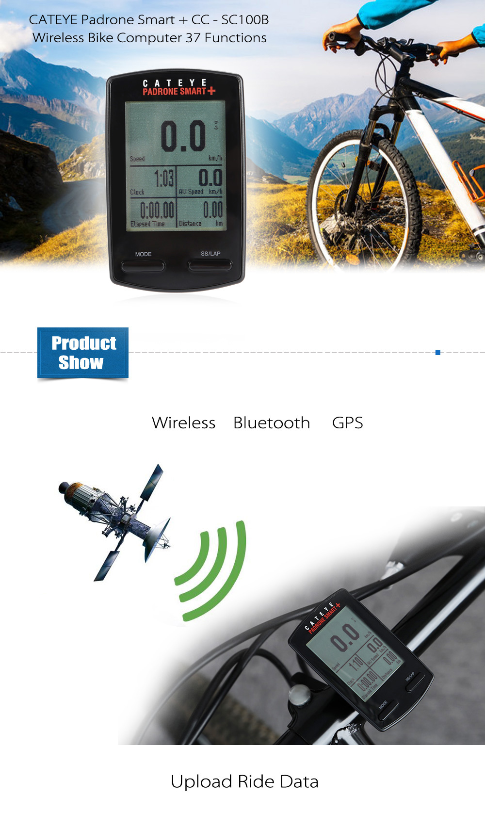 CATEYE Padrone Smart + CC - SC100B Auto Power Saving Mode Wireless Bike Computer